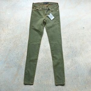 Angry rabbit Made in USA olive denim jeans 25
